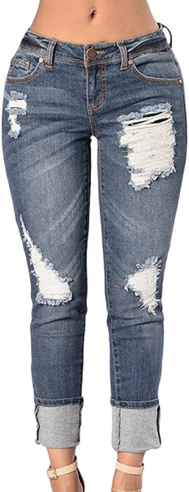 TALLA XL. ZKOO Pantalones Jeans Mujer Elástico Flacos Vaqueros Rotos Agujero Jeans Leggins Casuales