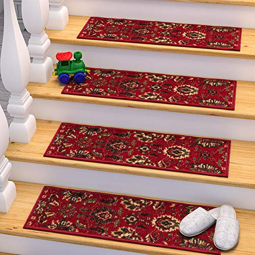 Ottomanson Stair Tread, 13 Pack, Red (Stair Red Carpet)
