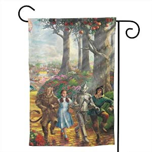 """Colorful Wind T-He W-Izard o-f O-Z Garden Flag 12.5x18 Inch Double Sided Print House Yard Flag for Holiday Easter Spring Summer Fall Garden Welcome Yard Outdoor Decor,White,12.5"""""""" x18"""