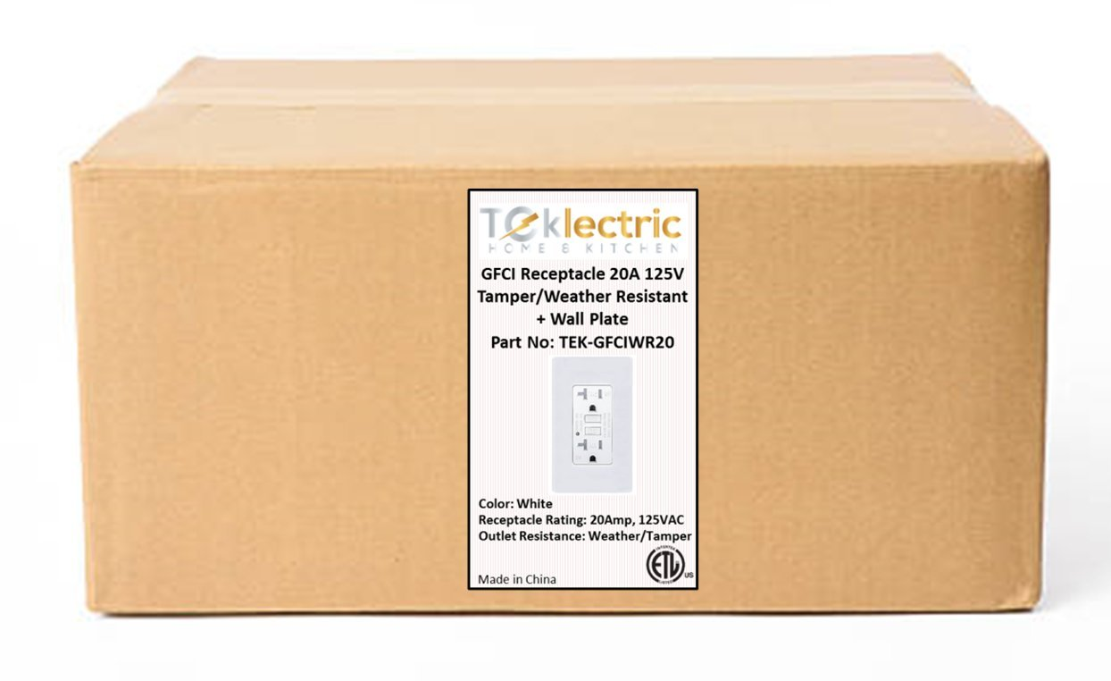 Teklectric Gfci Receptacle 20a 125v Tamper Weather Resistant 15 Or 20 Amp Receptacles Wall Plate Outlet 125 Volt Grounded Water