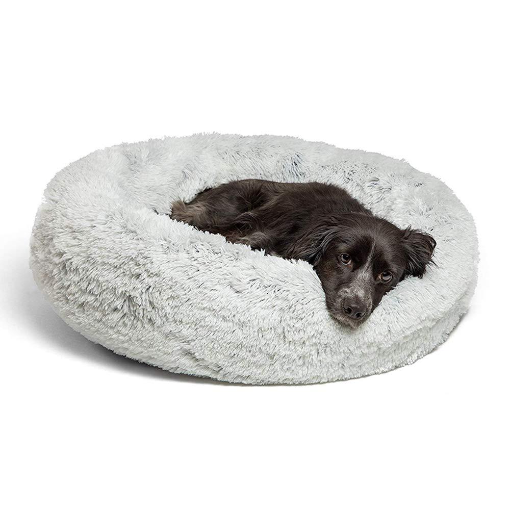 Diameter 50 cm Dog Cat Bed Cushion Warm Fleece Round Shape for Small Medium Large Dogs Grey Colour (Diameter 50 cm)