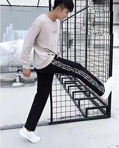 Taille Pantalon Babao Élastique Noire Homme Jogging À Fleur qptpwAxa4