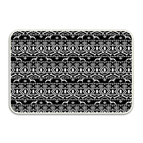 Italian Greyhound Fair Isle Christmas Snowflakes Dog Breed Silhouette Pattern Anti-Slip Door Mat Home Decor, Indoor Entrance Doormat 16x24 Inches Entryway Mat - Pattern Isle Snowflake Fair