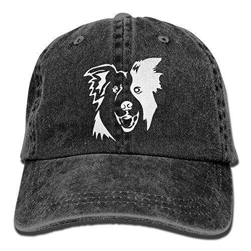 NZWJW85 2018 Adult Fashion Cotton Denim Baseball Cap Border Collie Classic Dad Hat Adjustable Plain Cap