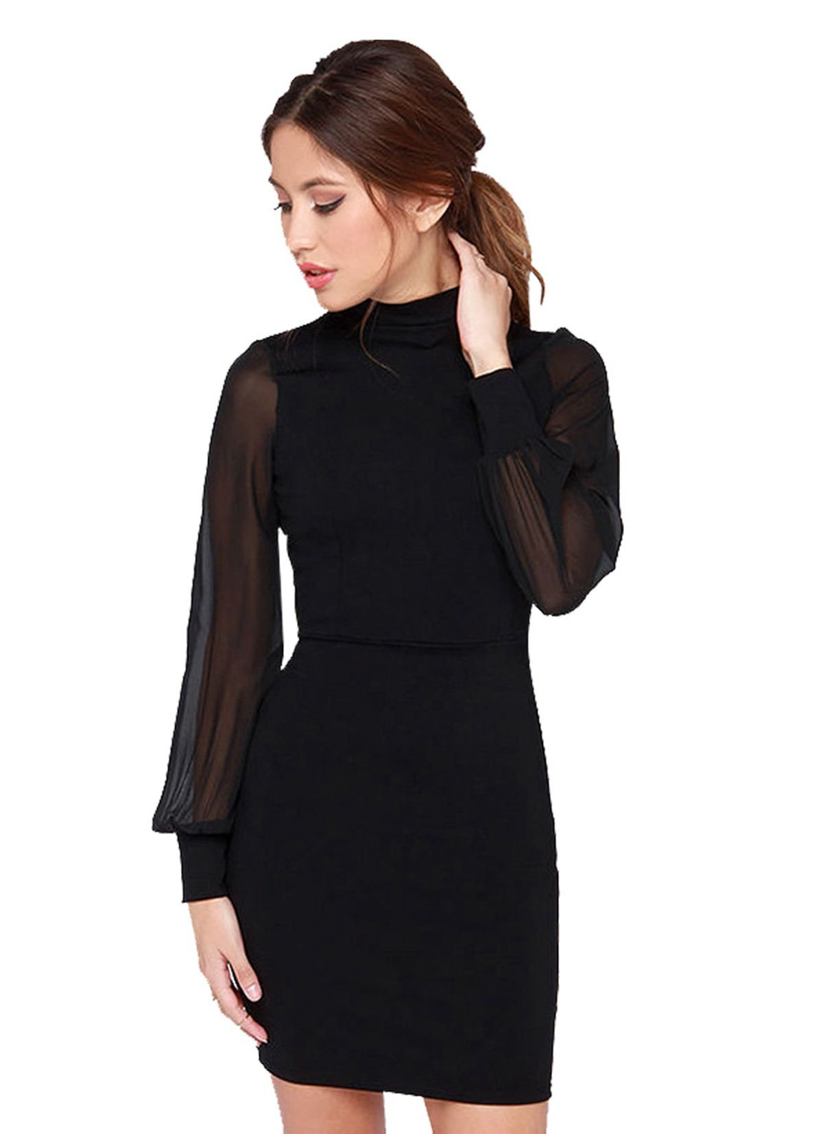 ARON BOSS Women's Backless Long Sleeve Cocktail Party Short Sexy Dress (S, Black-002)