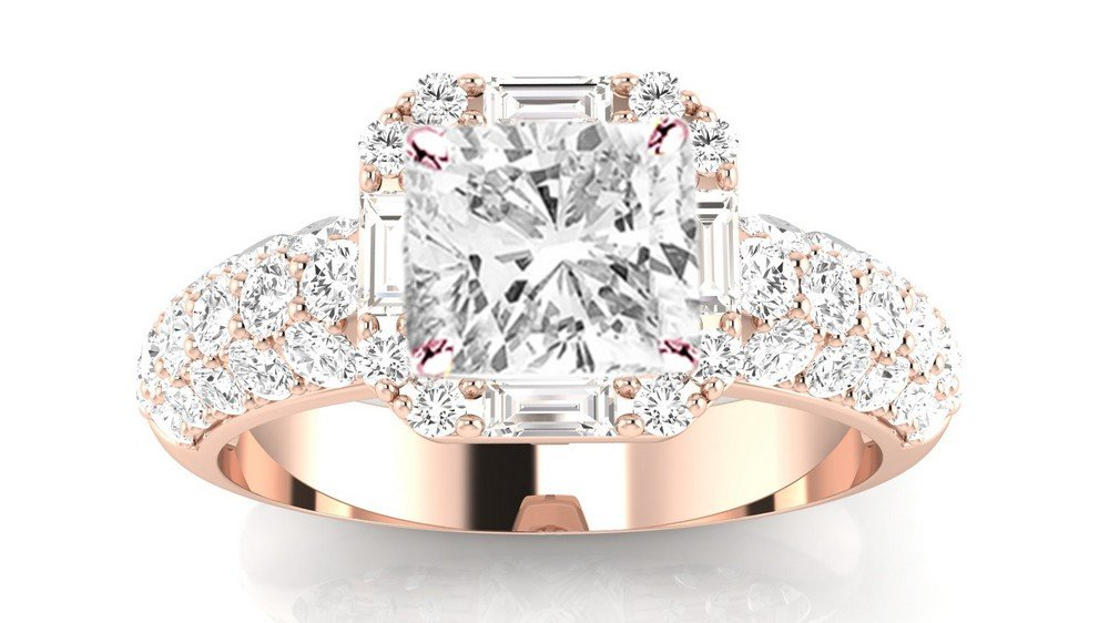 1.8 Ctw 14K Rose Gold GIA Certified Cushion Cut Designer Popular Halo Style Baguette And Pave Set Round Diamond Engagement Ring, 1 Ct I-J SI1-SI2 Center
