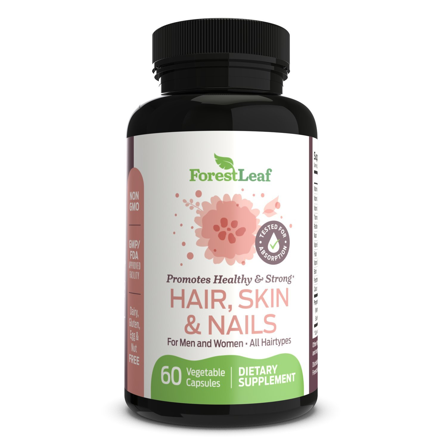Hair Skin and Nails Supplement For Men and Women - All Natural Biotin, Keratin, Bamboo Regrowth Formula For All Hair Types - 60 Vegetarian Capsules – By Forestleaf