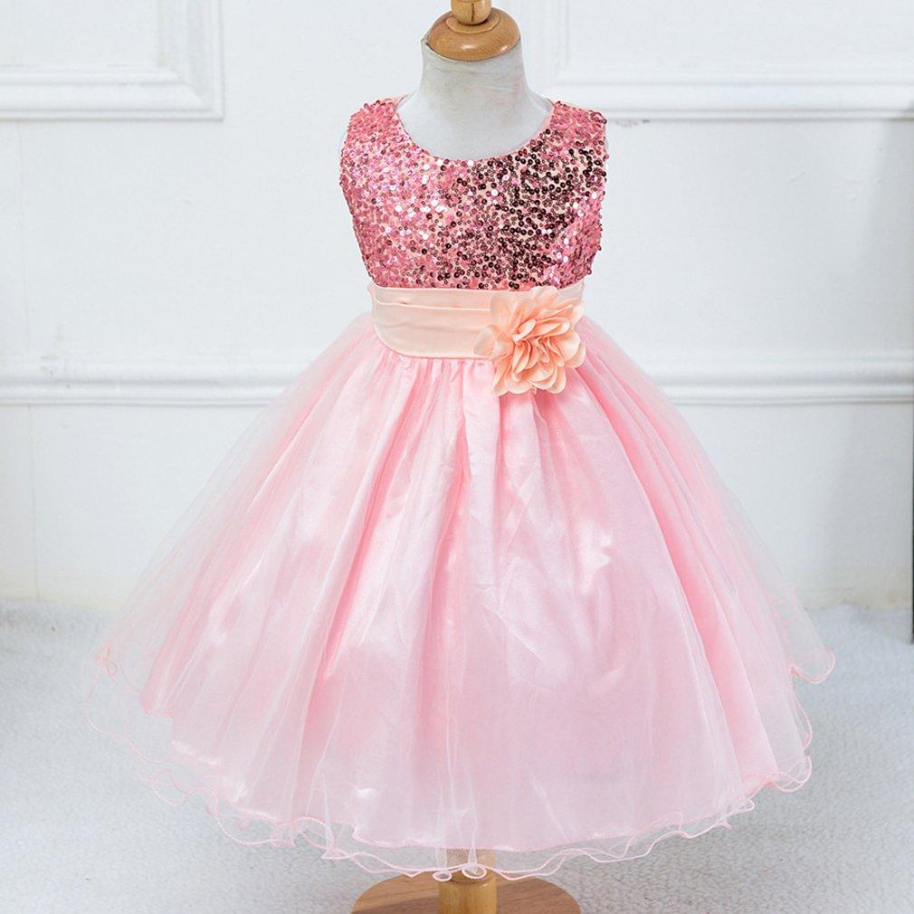 Yinew Mädchen Kleider Kleider Gürtel Net Puff Hauch Rock Kleider Kinder Pailletten Pink 160cm