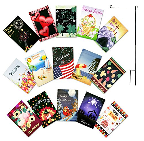 Double Sided Garden Flag Set of 15 Yard Flags 12 x 18 inches