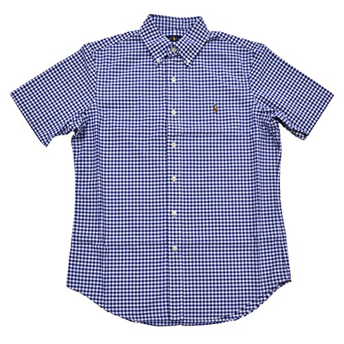 Polo Ralph Lauren Men's Short-Sleeve Check Plaid Oxford Shirt Button up Button down, Size 2XL, Dark Blue (889697554979)