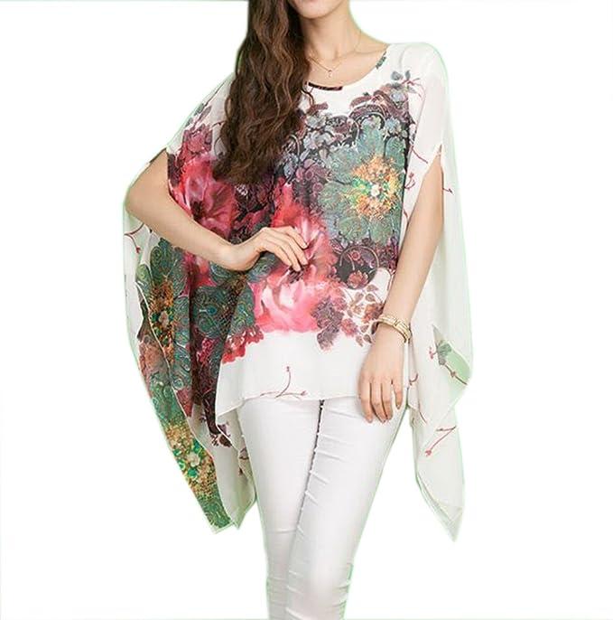 yiyayo® Mujeres Mangas de Murciélago blusa de gasa elástico jersey vestido de túnica Tops