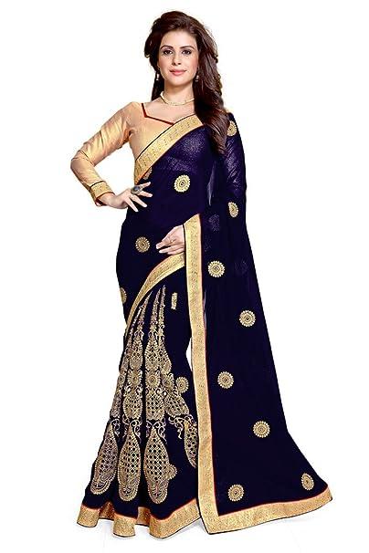 Mirchi Fashion - Blusa sarí hindú para mujer, bordado complejo, no cosido azul azul Talla única: Amazon.es: Ropa y accesorios