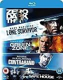 DVD : 5 Movie Blu-ray Set Lone Survivor / Zero Dark Thirty / Safe House / Green Zone / Contraband