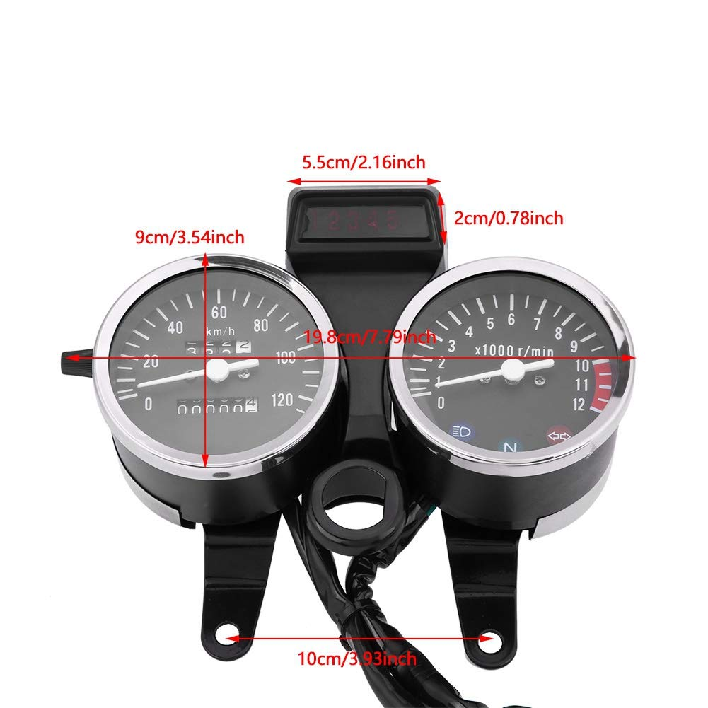 Motorcycle Speedometer Acouto Double Digital Motorcycle Odometer LED Tachometer Speedometer Oil Meter for Suzuki GN125