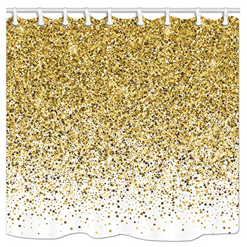 DYNH Golden Confetti Star Shower Curtain, Golden Star Falling and Modern Creative Silver Starry Wallpaper Fabric Bath Curtains for Bathroom, Waterproof Drapes Accessories with Hooks, 69X70 -