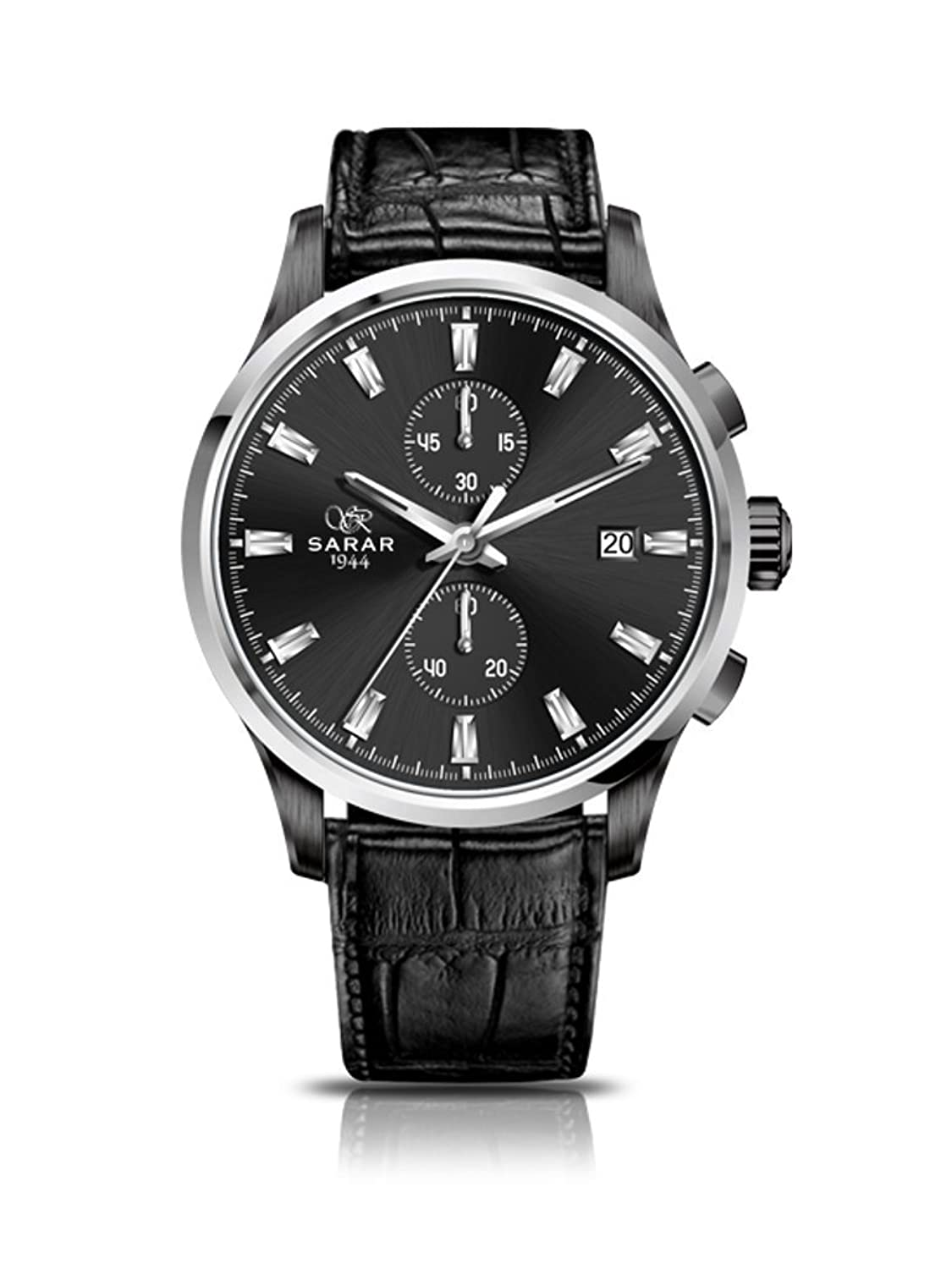 SARAR-TIME Classic- Chrono All-Black SR-4133 Echtleder