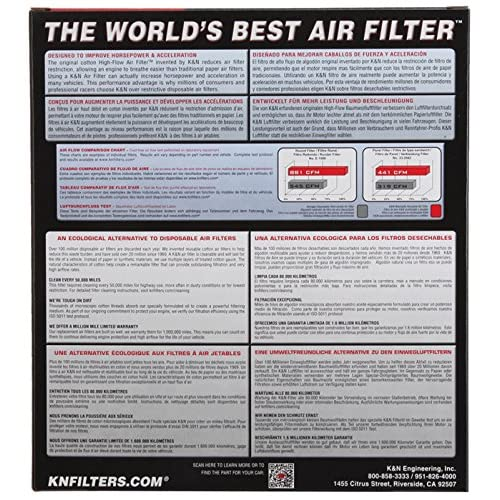 Fits Chrysler Town /& Country 2008-2010 K/&N High Flow Replacement Air Filter
