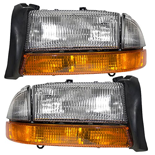 Composite Headlights Headlamps with Park Signal Lamp Driver and Passenger Replacement for Dodge Pickup SUV 55055111AI 55055110AI ()
