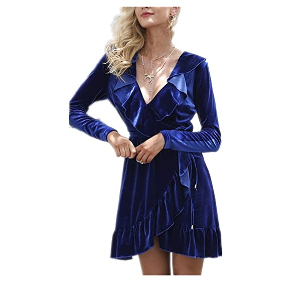 vintage velvet dress women V neck short sexy dress Autumn winter long sleeve blue wrap dress