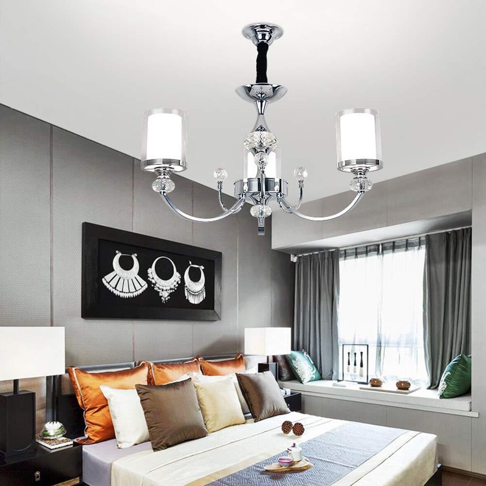 FZC-EEシャンデリアクリスタルモダン、ペンダントランプシーリングライトモダンなシンプルなシルバーガラスシェード寝室リビングルームダイニングルーム屋内E 14 110 v 220 v, 3 HEAD   B07TT22LW1