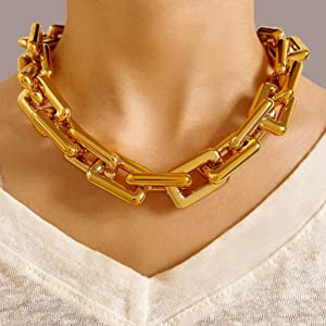 Retro personality thick chain necklace alloy metal clavicle chain