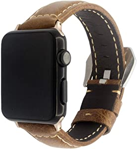 Quick Replacement Watchband Compatible with Apple Watch Band 38mm 40mm, Genuine Leather Strap for iWatch Loop Series 4 3 2 1, A2YOYO, 42/44 Brown