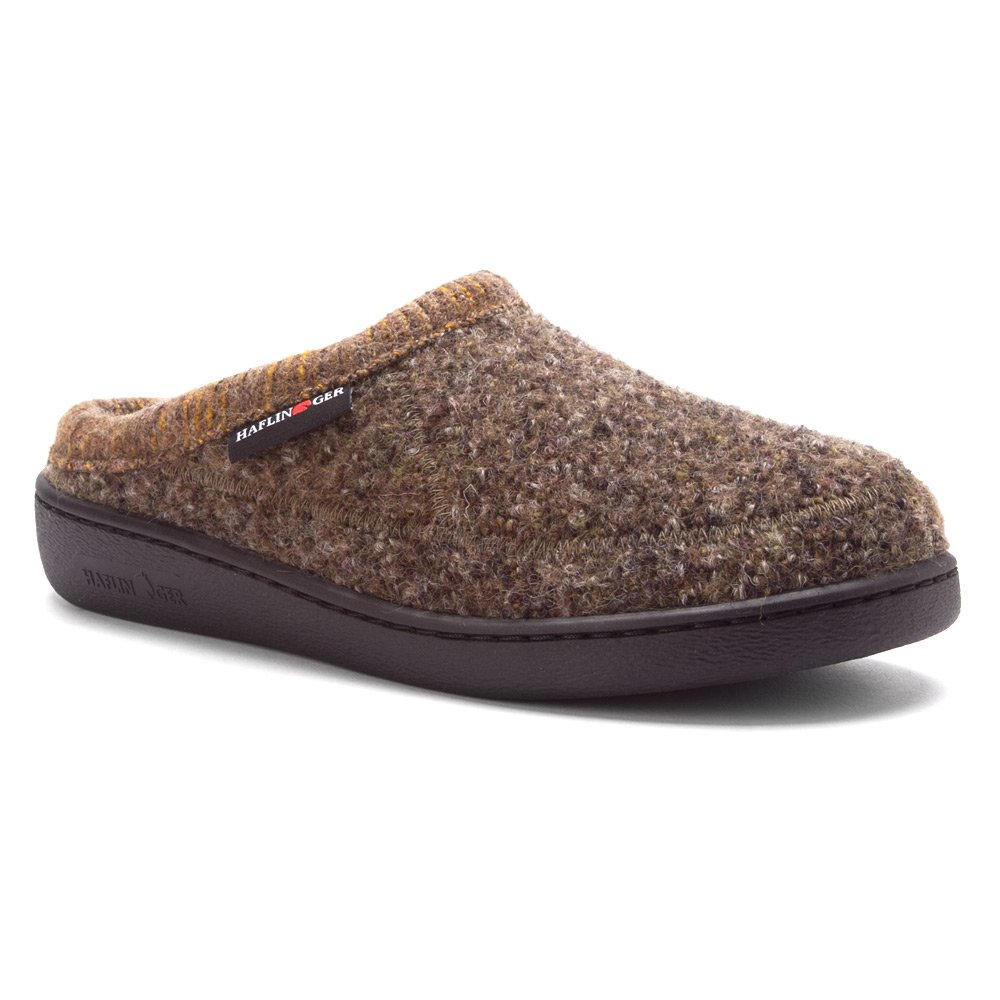 Haflinger Men's ATC Stitch Hardsole Slipper Khaki Speckle 44 European by Haflinger (Image #1)