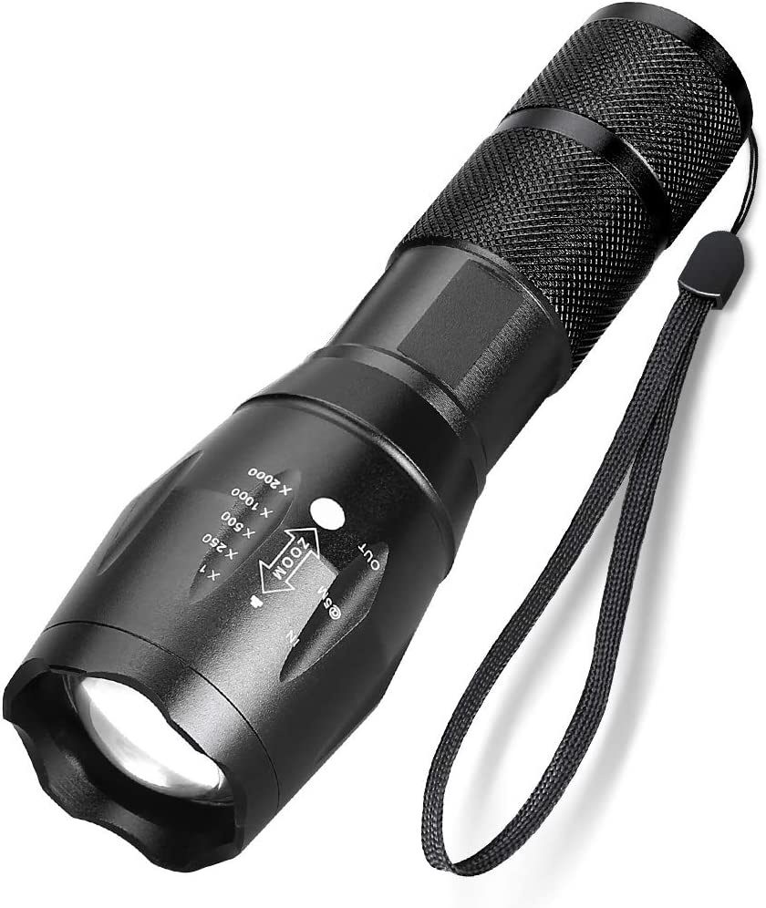 Ultra-Bright LED Tactical Flashlight, High Light 1000 Lumen T6 LED Torch, Zoomable Focusing, Aluminum Alloy, IPX5 Water Resistant LED Flashlight, 5 Light Modes for Outdoor, Camping, Hiking, 2 Pack