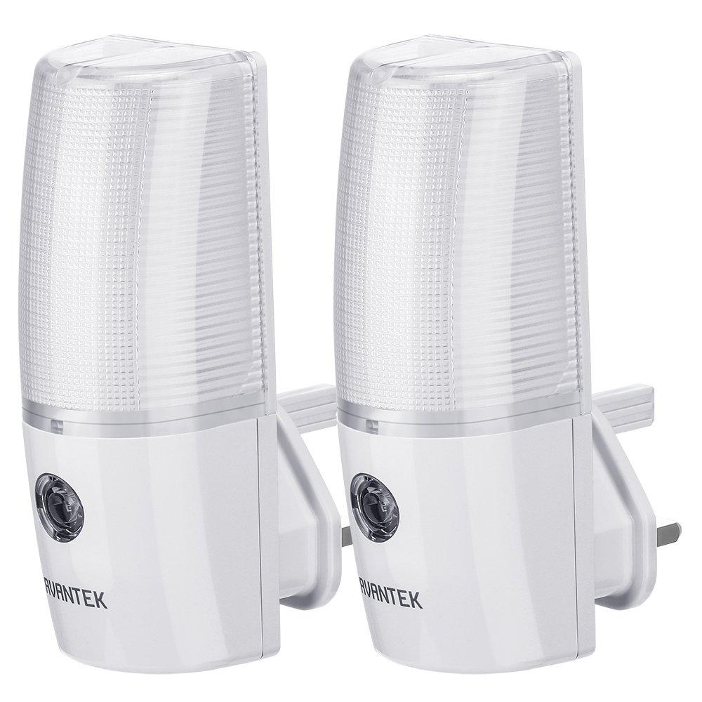 AVANTEK 2-Pack LED Night Light Plug-and-Play Automatic Wall Lights with Dusk to Dawn Sensor [Energy Class A+]
