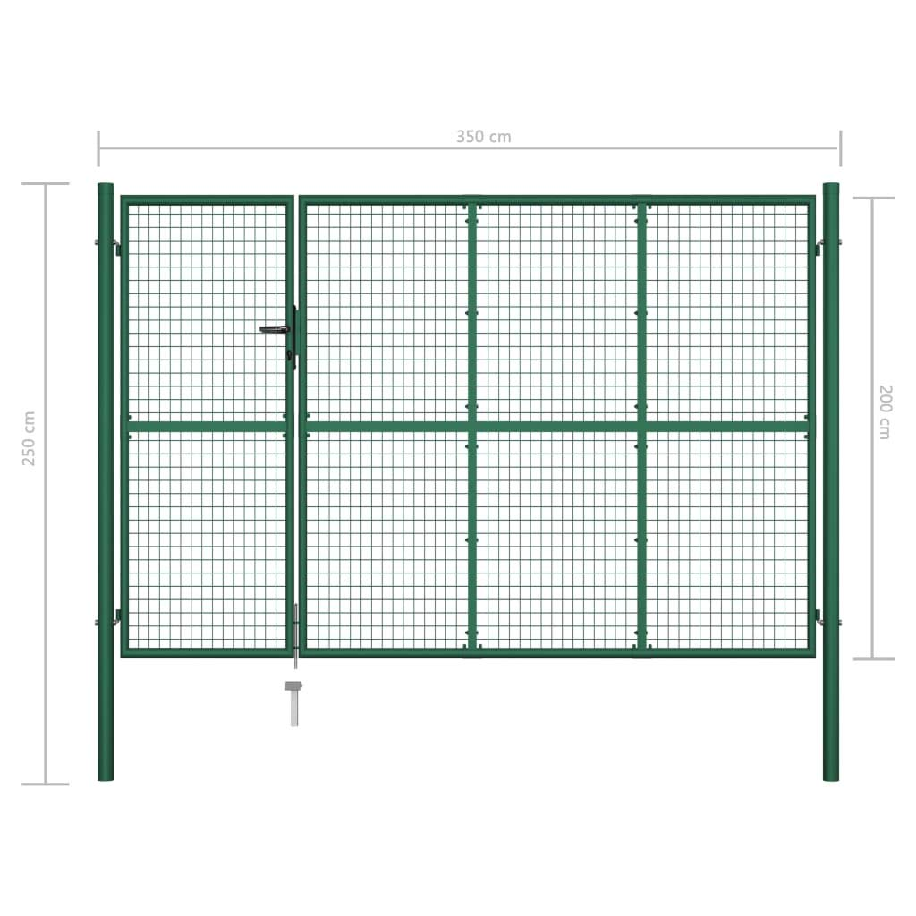 vidaXL Cancello Recinzione Classico Robusto Aniruggine con Serratura e Chiavi Ingresso Pannello Recinto da Giardino in Acciaio 350x150 cm Verde