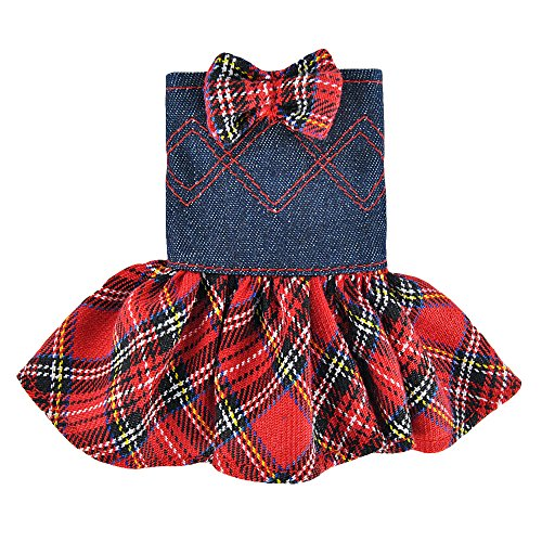 - E-TING Santa Couture Clothing for elf (Red Plaid Denim Dress with Bowknot) Doll is not Included