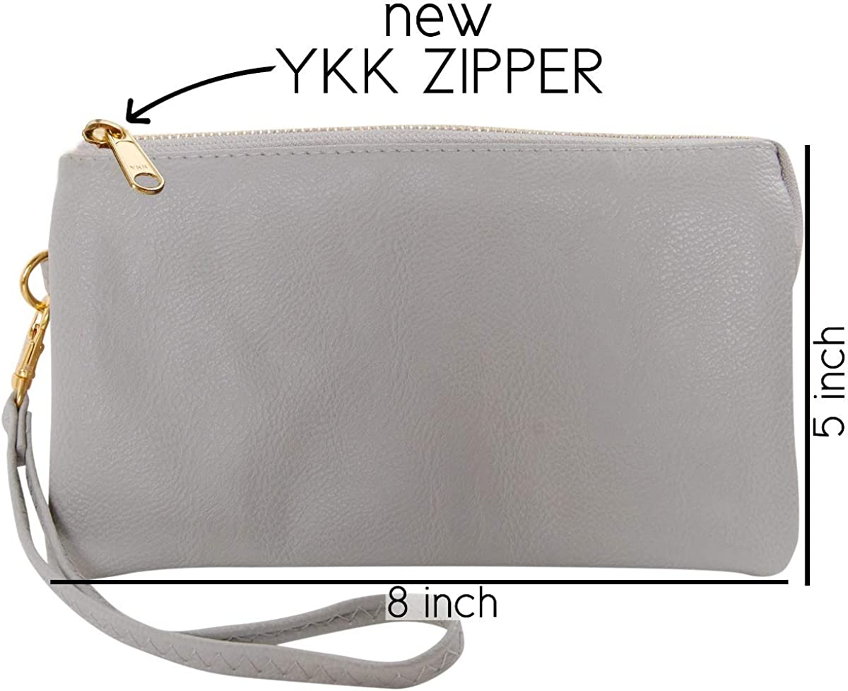Humble Chic NY Veganes Leder Kleine Umh/ängetasche Tasche Oder Wristlet Unterarmtasche Handtasche Inklusive Einstellbarer Schulter Und Handgelenkb/änder