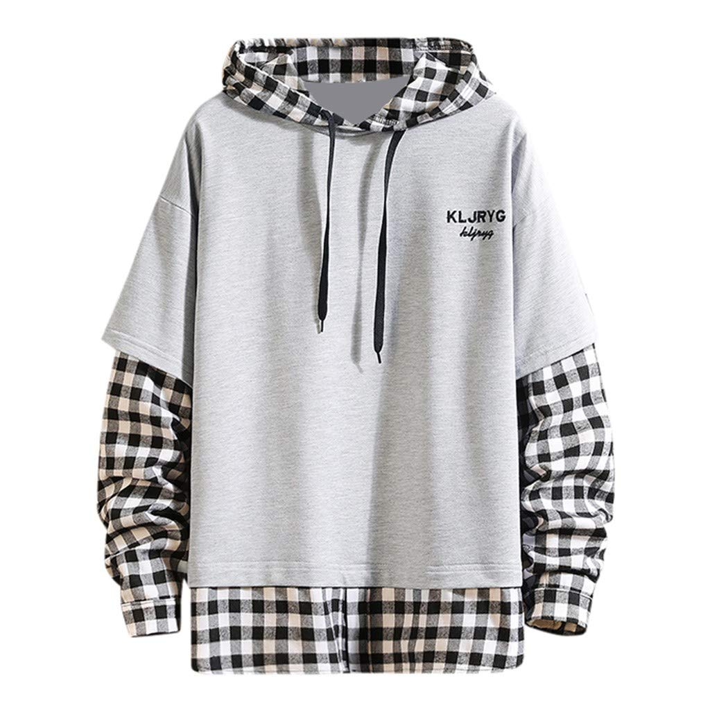 FEDULK Men's Hooded Sweatshirt Plaid Patchwork Long Sleeve Hoodies Pullover Coat S-4XL(Gray, XXXX-Large) by FEDULK