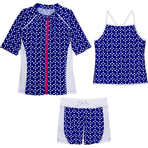 Flower Power Short - SwimZip Little Girls Short Sleeve Rash Guard Swim Shorts Set with UPF 50+ Blue Flower Power 12-18 Month