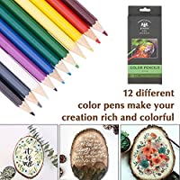 2 Stencils 33 Tips 12 Pencils BENECREAT 53PCS Wood Burning Kit Tool Professional Woodburning Tool Pyrography Wood Burner Set for Adult Beginner Crafts with Case Wood Burning Pen not Included