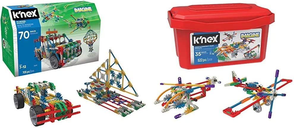 K'NEX 70 Model Building Set - 705 Pieces - Ages 7+ Engineering Education Toy & Imagine - Click & Construct Value Building Set - 522Piece - 35 Models - Engineering Educational Toy Building Set