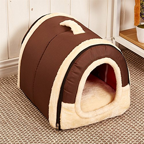 Velimax 2-in-1 Pet House Non-Slip Windproof Bottom Cats Pet Tent Pet Cover [2-in-9 pet House Handbag Shape for Dogs & Cats Pet Tent Pet Cover with Removable Cushion Washable Waterproof Bottom]