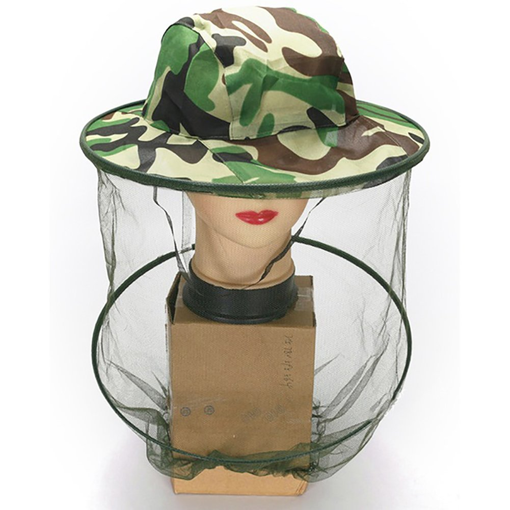 ink2055 Outdoor Traval Camouflage Hat Mesh Cover Mosquito Insect Bug Net Face Camping Protector - Green