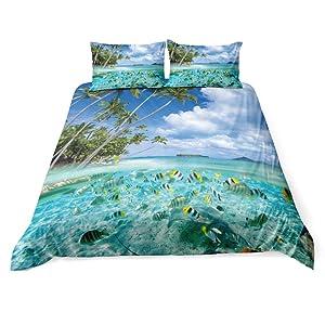 Feelyou Beach Duvet Cover Set Twin for Kids Ocean Bedding Set Hawaiian Tropical Sea Fish Printed Bedding Cover Microfiber Polyester Comforter Cover with 1 Pillow Shams, Blue,Zipper, 2Pcs