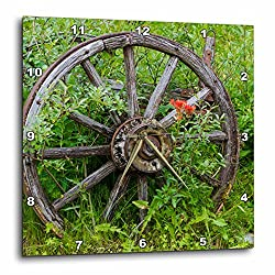 3dRose 3D Rose Old Wagon Wheel in Historic Barkersville, British Columbia, Canada. -Wall Clock, 10-inch (DPP_208342_1)