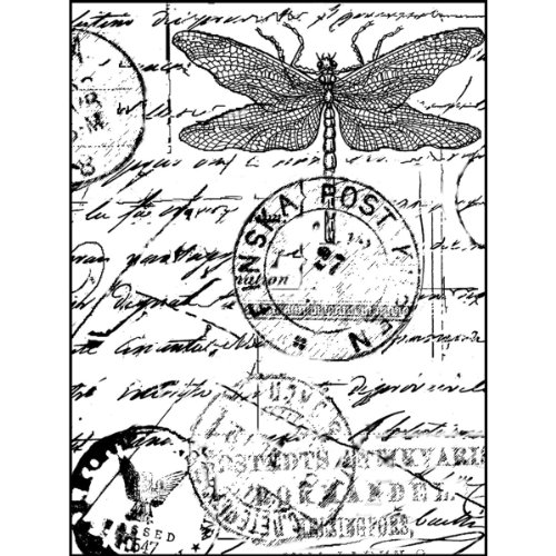 "Crafty Individuals Unmounted Rubber Stamp 4.75""X7"" Pkg-Dragonfly Post"