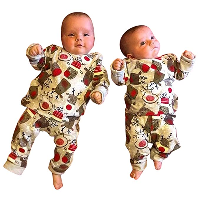 Girls Boys Long Sleeve Nightwear Unisex Baby Halloween Costume Cute Cartoon Animal Printed Tops with Pants Set Pajamas Sleepwear Outfits for 1-6 Years Old Toddler Infnats Little Kids