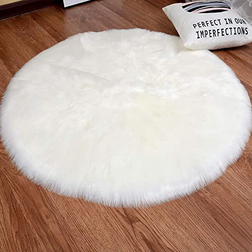 YJ.GWL High Pile White Round Faux Sheepskin Fur Area Rug for Bedroom Living Room Fluffy Floor Rugs, 4 x 4 Feet Round