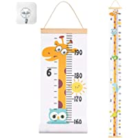 "JJGoo Baby Growth Chart Hanging Ruler Wall Decor for Kids, Canvas Removable Height Growth Chart 79"" x 7.9""(Giraffe)"