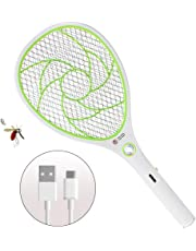 Bug Zapper Racket,Electric Fly Swatter,Rechargeable Mosquito Fly Killer - USB Charging - 3000 Volt - Bright LED Light - Unique 3-Layer Safety Mesh Safe