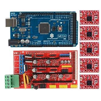 Mega 2560 SunFounder + RAMPAS 1,4 controlador Shield + A4988 3D ...