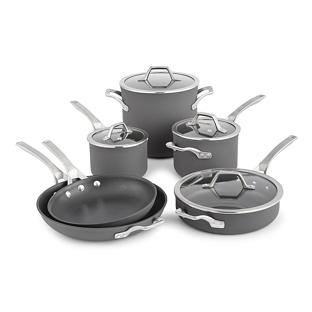 Calphalon Signature Hard Anodized Nonstick Cookware Set, 10-piece, Grey