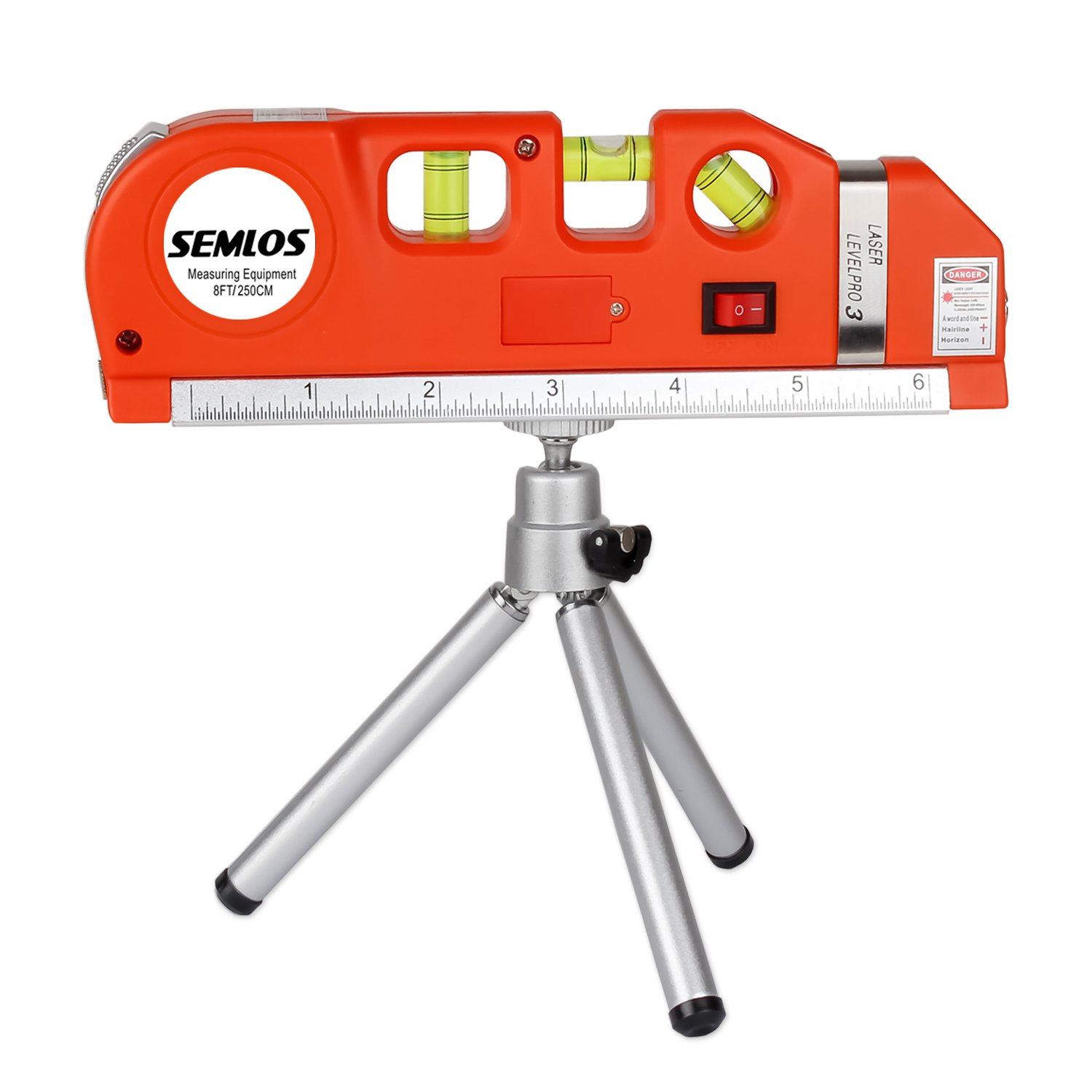 Semlos Multipurpose Laser Level Laser Measure Line 8ft+ Measure Tape Ruler Adjusted Standard and Metric Rulers with Adjustable Metal Telescoping Tripod