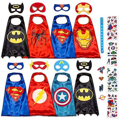 Dropplex 8 Superhero Capes for Kids - Super Hero Toys & Costumes Birthday Party Supplies (Boys Pack) for $<!--$34.20-->