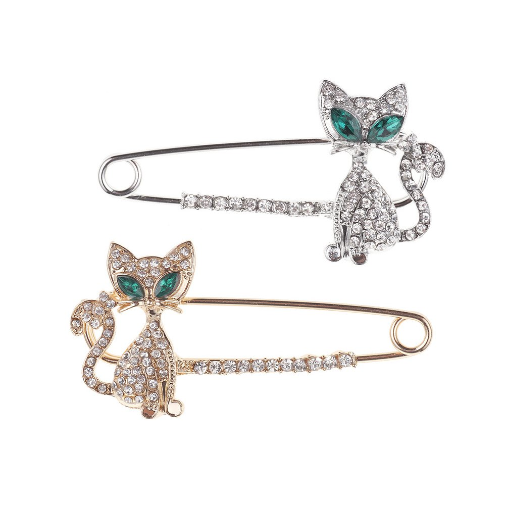 2 Pcs Rhinestone Crystal Cat Green eyes Brooches Sweater Pin Beautiful Scarf Pin Clip Ornament Pin Christmas Gift Hat Breastpin Pave Lapel Pin (Cat)
